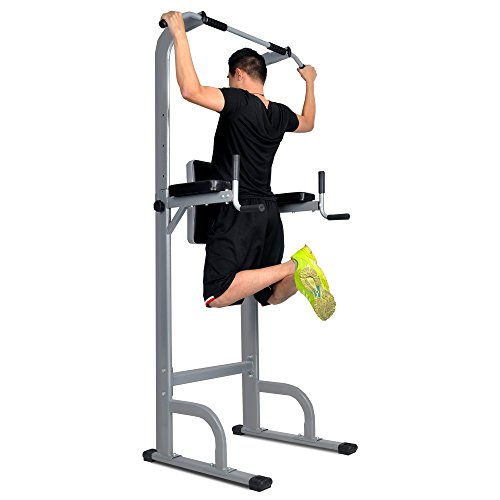 Adjustable Height Power Tower w/ Dip Station Pull Up Bar Standing Tower Gym Sports Equipment 550 Lbs Pull Up Tower