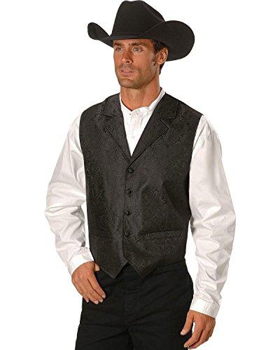 Scully Rangewear by Men's Rangewear Paisley Button Vest Black (Scully Western Wear)