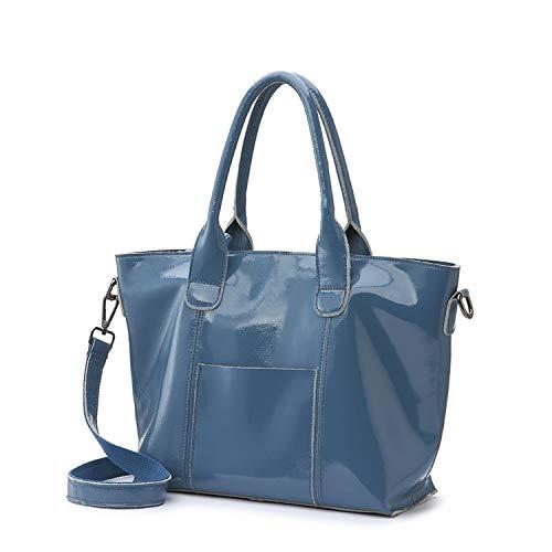 bd65a7ae55e Chibi-store women handbags soft patent leather messenger crossbody bags ,Blue,(30cm