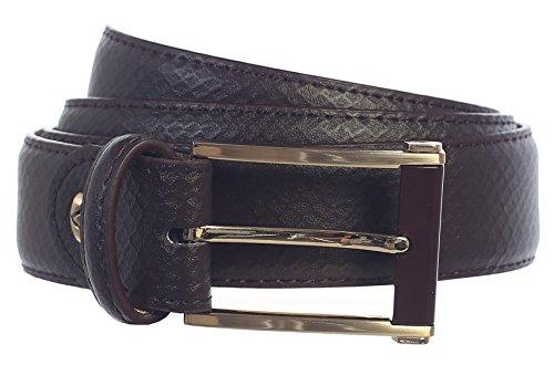 Men's Handmade Genuine Leather Belt Dark Brown Snake Skin Embossed_Prong Buckle (46, Dark Brown) ()