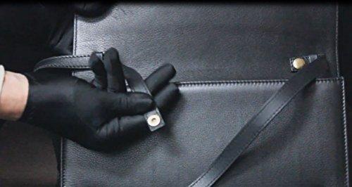 FERETI sac baguette noir bandoulière cuir noir