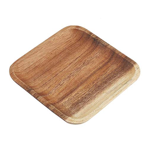 Cafe Ottoman - Elegant Square Food Tray Snacks Sushi Wooden Serving Dish for Home Ottoman Cafe Shop(7.8In)