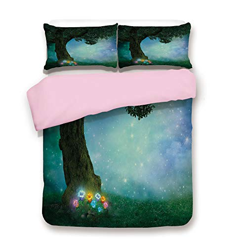 Pink Duvet Cover Set,King Size,Fairytale Little Red Riding Hood Forest at Night with Flowers and Stars Image,Decorative 3 Piece Bedding Set with 2 Pillow Sham,Best Gift For Girls Women,Multicolor ()