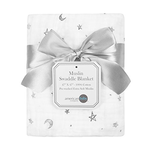 American Baby Company 100% Natural Cotton Muslin Swaddle Blanket, Gray Stars/Moon, 47 x 47, Soft Breathable, for Boys and Girls