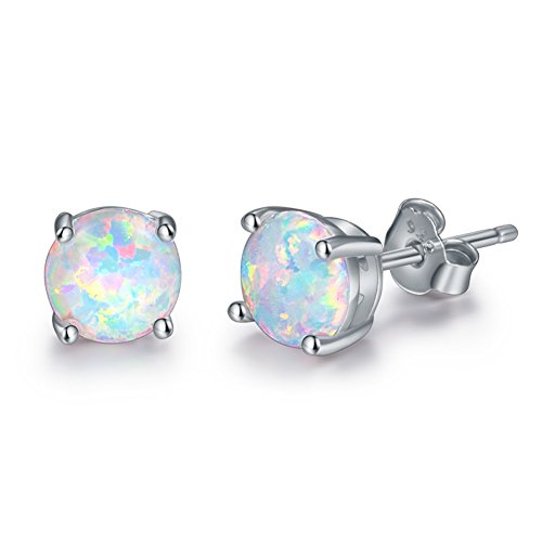 925 Sterling Silver Opal Stud Earrings, 6mm Round Stud Earrings in White Gold or Rose Gold for Women (White Gold)