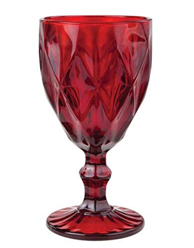 (Victorian Trading Co 4 Ruby Red Glass Stem Water Goblets Diamond Pattern)