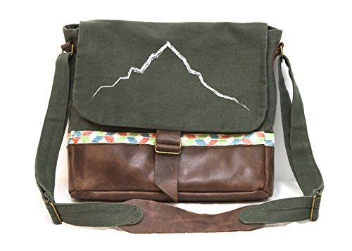 Purnaa Canvas Genuine Leather Messenger Bag, Ethically Made, Water Resistant
