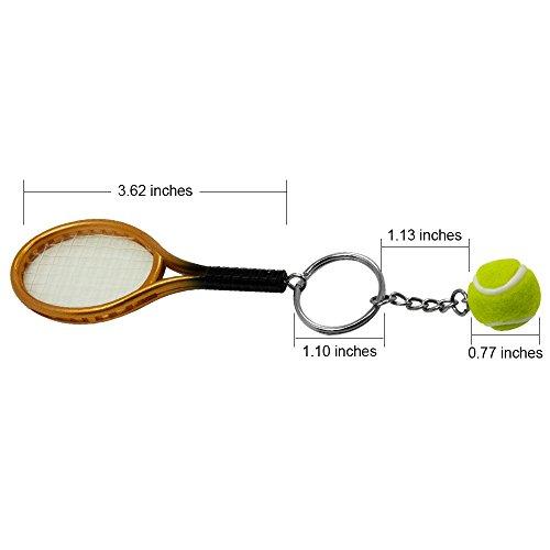 SPHTOEO Creative Alloy Sport Style Tennis Ball Keychain Tennis Racket Key Chain Key Ring 5 Color Set Photo #3