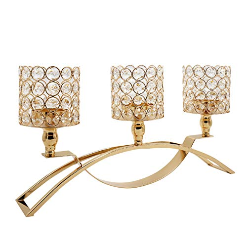 - Joynest 3 Arms Cylinder Ball Crystal Candle Holders/Candellabra for Party/Wedding Table Centerpieces Dining Room Decor, Gifts for Anniversary Celebration & Home Decoration (Gold)