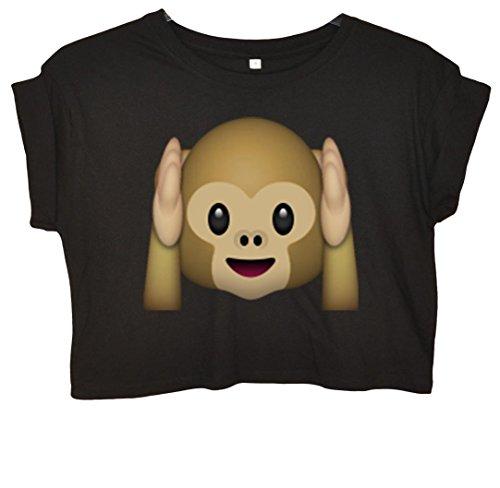 Hear-no-evil Monkey Emoji Bauchfreies Crop Top Schwarz