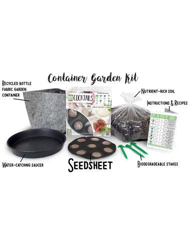 Seedsheet, Grow Your Own Cocktails Container Garden, Organic Seed Pods, Purple Basil, Tulsi, Herb Celery, Borage, Lemon Balm, Bronze Leaf Fennel, Complete Kit, As Seen on Shark Tank by Seedsheet (Image #1)