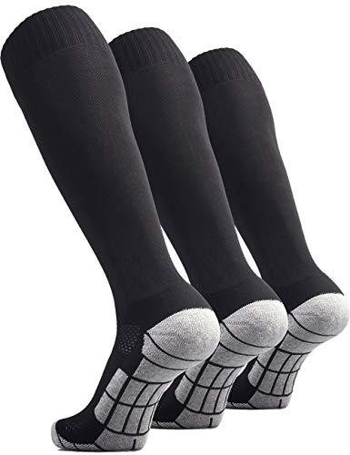 (CWVLC Youth Soccer Socks 3 Pairs Girls Boys Volleyball Sport Team Athletic Knee High Long Tube Cotton Compression Socks Black Medium (5Y-7Y Youth/6-10 Women))
