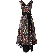 Oumans Asymmetrical Camo Prom Dress Wedding Party Dress Double-Neck Sash