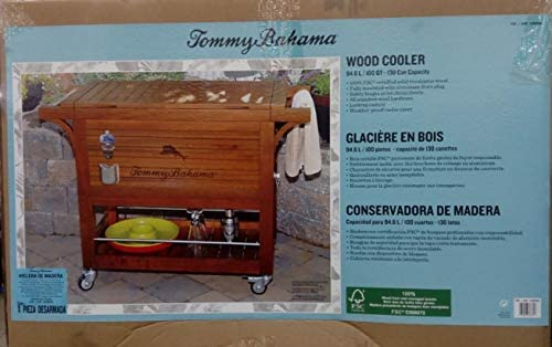Tommy Bahama Relax 100 Quart/94.6 L madera Rolling Cooler: Amazon ...