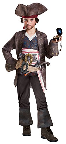UHC Potc 5 Captain Jack Sparrow Classic Deluxe Outfit Child Halloween Costume, Child S (4-6)