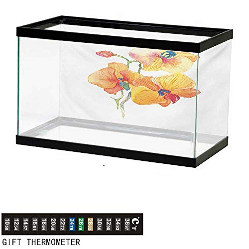 (wwwhsl Aquarium Background,Floral,Orchid Petals Wild Flower Exotic Fragrance Pure Florets Watercolor Tribal,Red Yellow Marigold Fish Tank Backdrop 30