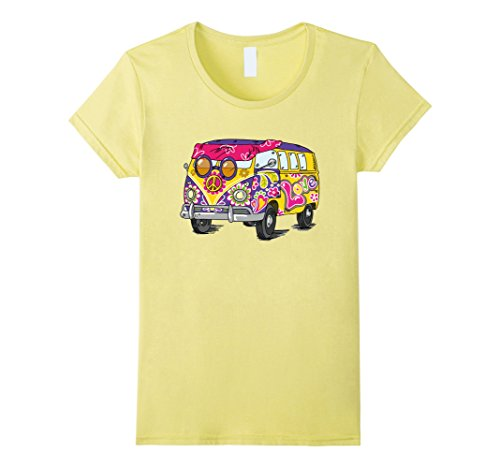 Womens Retro Hippie Bus T-Shirt - Flower Power of the 60s & 70s Medium Lemon (1960s Hippie Fashion)