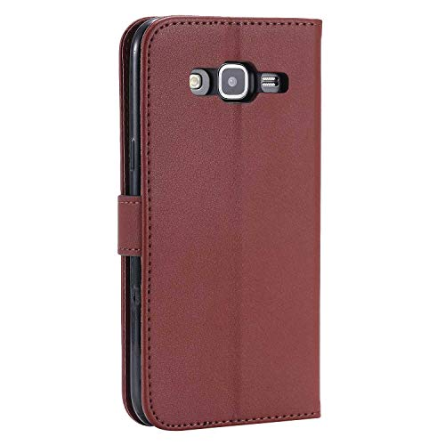 UNEXTATI Galaxy J1 2016 Case, Leather Magnetic Closure Flip Wallet Case with Card Slot and Wrist Strap, Slim Full Body Protective Case (Brown #6) by UNEXTATI (Image #3)