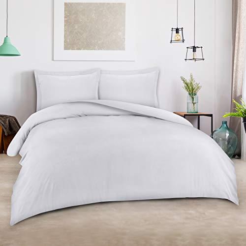 Utopia Bedding 3pc Duvet Cover Set with 2 Pillow Shams (Queen, White)
