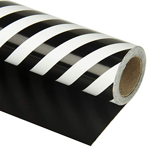 WRAPAHOLIC Reversible Gift Wrapping Paper – Black and Stripes Design for Birthday, Holiday, Wedding, Baby Shower Gift Wrap – 30 inch x 33 feet