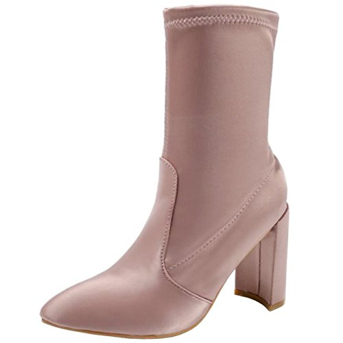 Slip Block Heel Toe Women's Boots Satin Pointed Pink on Binying Chukka wgqH6SXxnS