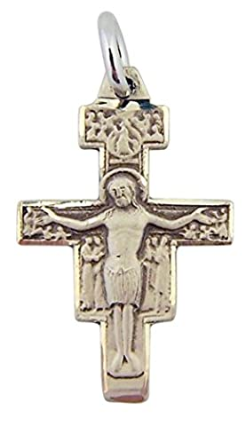Sterling Silver Saint St Francis San Damiano Cross Crucifix Pendant, 13/16 Inch - Franciscans San Damiano