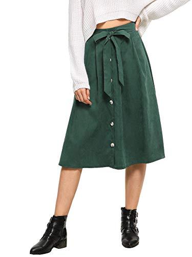 WDIRARA Women's Bow Tie Self Knee Length Button Front Flared Midi Skirt Green S