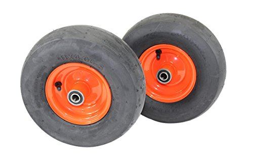 (Set of 2) 11x4.00-5 Tires & 5.25 Kubota Orange Wheels 4 Ply for Lawn & Garden Mower