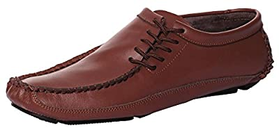 CAIHEE Mens Casual Leather Boat Shoes Lace Up Classic Driving Loafers