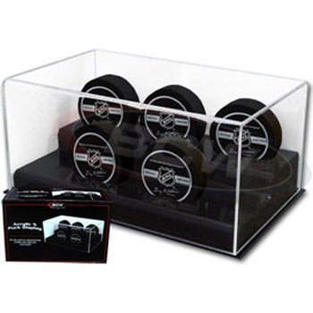 BCW Deluxe Acrylic 5 Hockey Puck Display - 1 Display per Each (5 Hockey Puck Display Case)