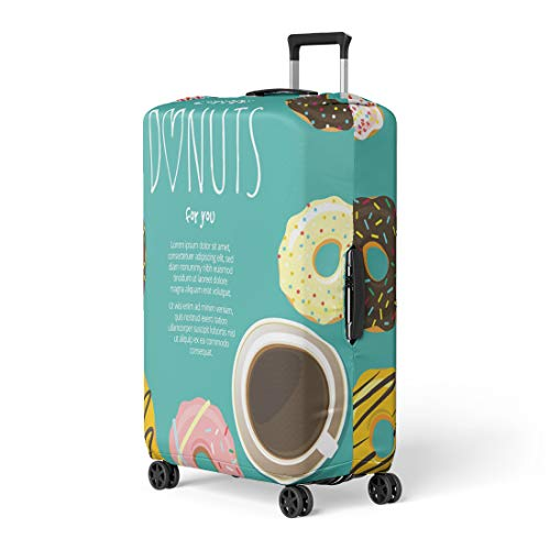(Pinbeam Luggage Cover Cup of Coffee Hot Chocolate and Donuts Around Travel Suitcase Cover Protector Baggage Case Fits 18-22 inches)