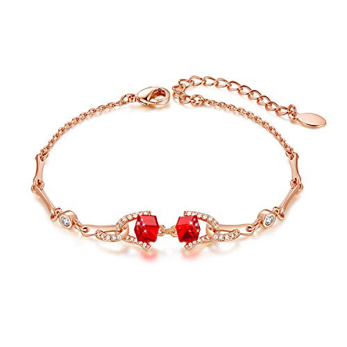CDE Best Friend Friendship Charm Bracelets for Women Embellished with Cubic Crystals from Swarovski White Gold Plated Bangle Bracelets (Red Rose-Gold)