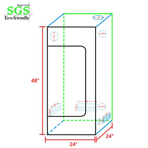 """41e6kMEt8CL - Quictent SGS Approved Eco-friendly 24""""x24""""x48"""" Reflective Mylar Hydroponic Grow Tent with Heavy Duty Anti-burst Zipper and waterproof Floor Tray for Indoor Plant Growing 2'x2'"""