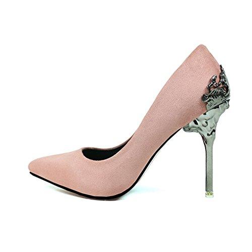 CYBLING Fashion Stiletto Heels Dress Pumps for Women Slip On Pointed Toe Wedding Shoes Pink NKTvCZxPSa