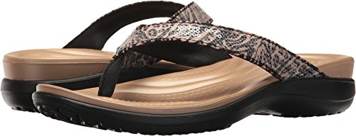 Womens Capri Sandal - Crocs Women's Capri V Graphic Sequin W Flip-Flop, Animal, 9 M US