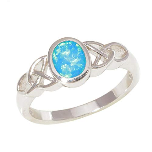 MARRLY.H Created Rainbow Blue Fire Opal Silver Plated Sell Fashion Jewelry for Women Gift Ring Blue 9