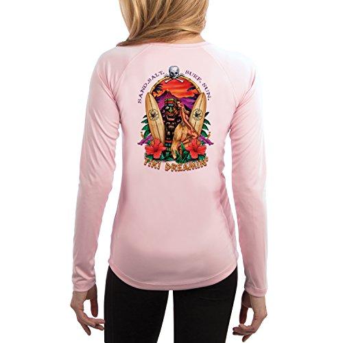 SAND.SALT.SURF.SUN. Tiki Women's UPF 50+ Long Sleeve T-Shirt XX-Large Pink Blossom