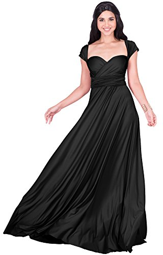 KOH KOH Plus Size Womens Long Bridesmaid Multi-Way Wedding Convertible Wrap Infinity Cocktail Sexy Summer Party Formal Prom Transformer Gown Gowns Maxi Dress Dresses, Black XL 14-16