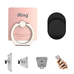 iRing Hook Black The Safe Grips And Cradle For Most Smartphones+Cradle Using In The Car And Smart Phone Mount Set Rose Gold