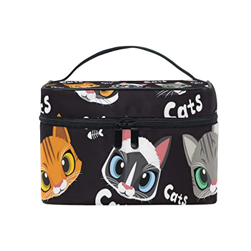 Makeup Bag Love Cute Cats Cosmetic Case Portable Carry Travel Toiletry Bag Toiletry Bags for Womens Storage -