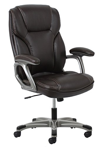Leather Executive Office/Computer Chair with Arms - Ergonomic Swivel Chair (ESS-6030-BRN) (Mattress 360 Coils)