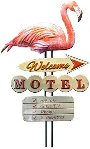 YOUKI Metal Flamingos Christmas Ornaments, Pink Flamingo Yard Lawn Ornament Home Decor,Retro Animal Welcome Travel Wall Decor
