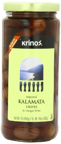 Krinos Kalamata Olives in Vinegar Brine, 16.0 Ounce (Pack of 6) ()