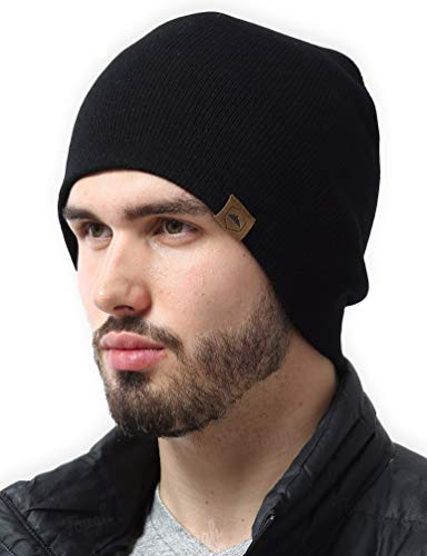 (Daily Knit Beanie by Tough Headwear - Warm, Stretchy & Soft Beanie Hats for Men & Women - Year Round Comfort - Serious Beanies for Serious Style Black OSFA)