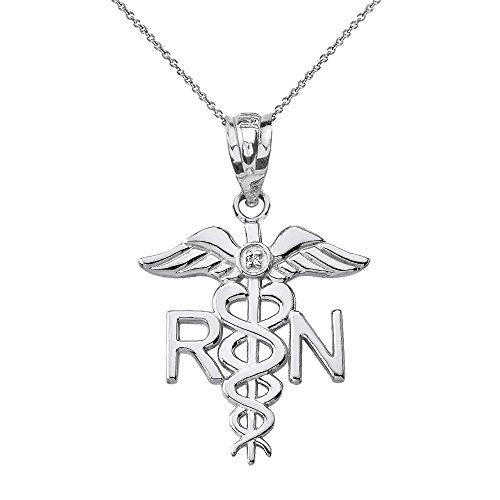 10k White Gold Solitaire Diamond Caduceus RN Charm Registered Nurse Necklace, 18