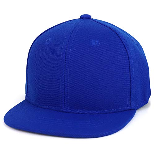 Trendy Apparel Shop Infant to Toddler Kid's Plain Structured Flatbill Snapback Cap (One Size, Royal)
