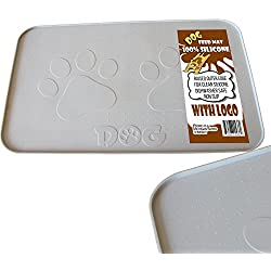 "iPrimio Large Dog Feeding Mat with Paw Logo - Premium FDA Silicone Made (Gray - 22"" X 14"") Perfect Size - Hygienic and Safe for Allergic Dogs - Dishwasher Safe -Anti Spill Edge – Non Slip"