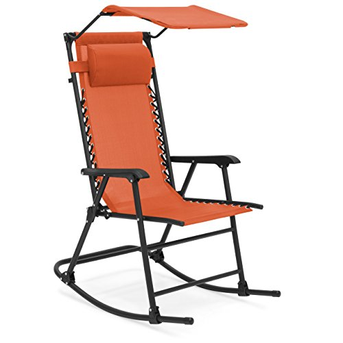 Best Choice Products Foldable Zero Gravity Rocking Patio Chair w/ Sunshade Canopy - Orange