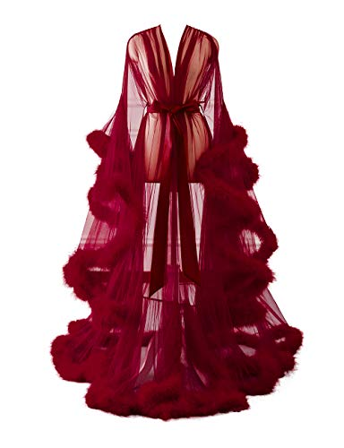 Changuan Sexy Feather Bridal Robe Tulle Illusion Long Wedding Scarf New Custom Made Burgundy XXL