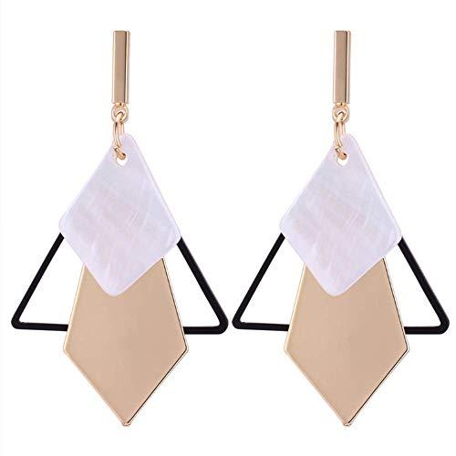 (TULIP LY Geometric Triangle Earring Metal Simple Drop Dangle Earring Plating Gold Black Bohemian Dangling Costume Earring for Women Girl Bar Party Fashion Jewelry (Triangle))